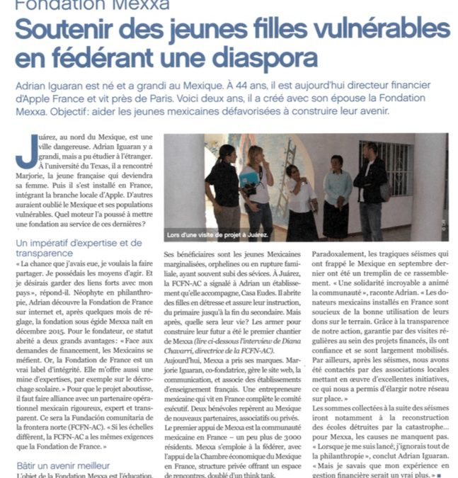 Article sur la Fondation Mexxa dans le dernier numéro de Contact